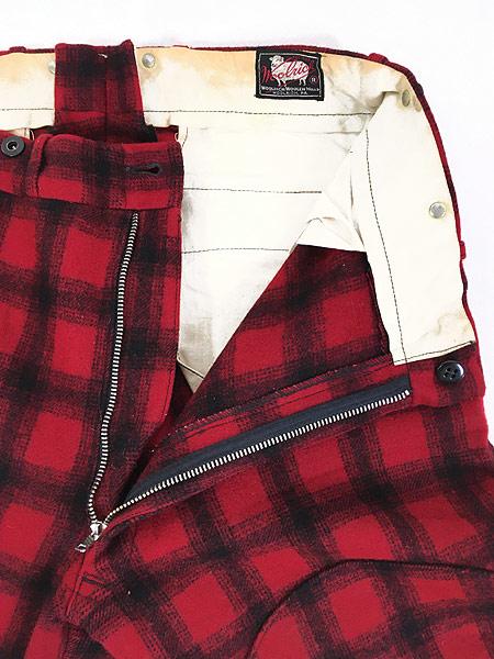 [6] 古着 60s WoolRich バッファロー チェック 防寒 ヘビー ウール Wニー ハンティング パンツ W32 L31 古着