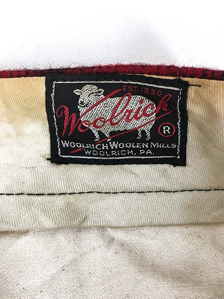 [7] 古着 60s WoolRich バッファロー チェック 防寒 ヘビー ウール Wニー ハンティング パンツ W32 L31 古着