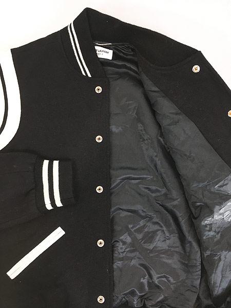 [4] 古着 イタリア製 SAINT LAURENT PARIS 2013AW ラム レザー コンビ メルトン ウール テディ ジャケット 48 ブランド 古着