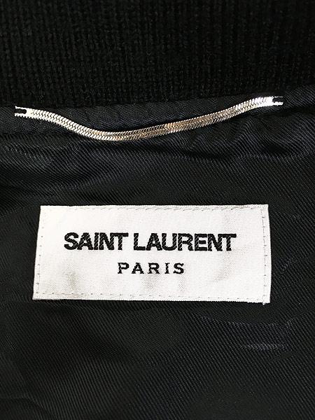 [5] 古着 イタリア製 SAINT LAURENT PARIS 2013AW ラム レザー コンビ メルトン ウール テディ ジャケット 48 ブランド 古着