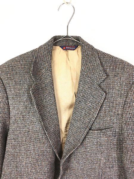 [2] 古着 80s USA製 B.J.Keats × Harris Tweed ツイード ウール テーラード ジャケット 40位 古着
