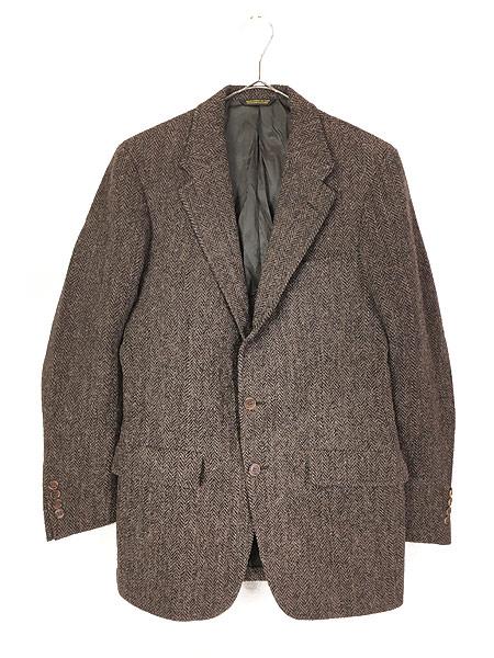[1] 古着 80s USA製 Harris Tweed ツイード ウール テーラード ジャケット 38位 古着