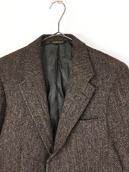 [2] 古着 80s USA製 Harris Tweed ツイード ウール テーラード ジャケット 38位 古着