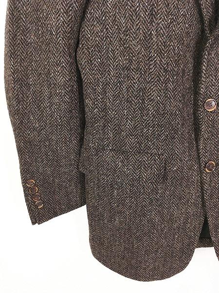 [3] 古着 80s USA製 Harris Tweed ツイード ウール テーラード ジャケット 38位 古着