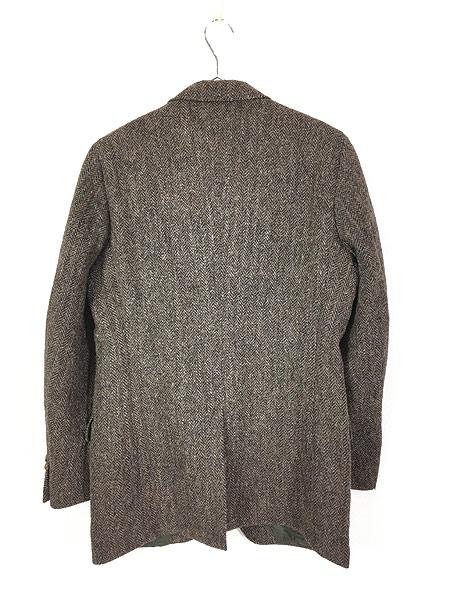 [4] 古着 80s USA製 Harris Tweed ツイード ウール テーラード ジャケット 38位 古着