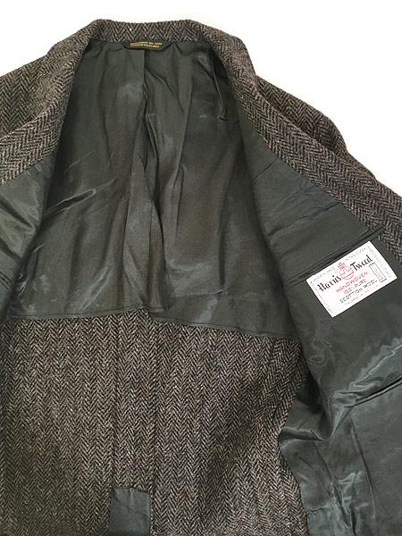 [6] 古着 80s USA製 Harris Tweed ツイード ウール テーラード ジャケット 38位 古着