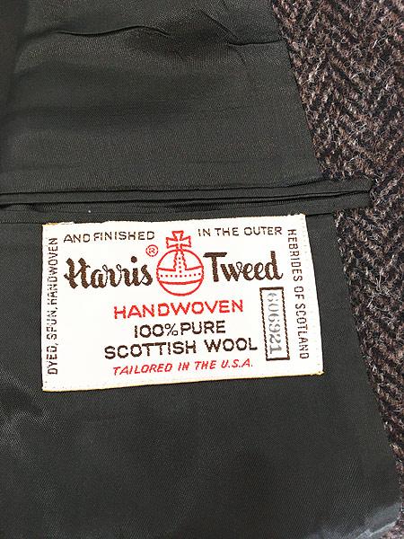 [7] 古着 80s USA製 Harris Tweed ツイード ウール テーラード ジャケット 38位 古着