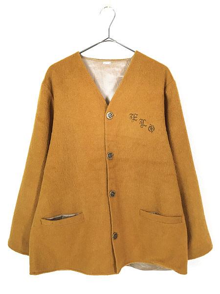[1] 古着 60-70s ワンポイト 刺しゅう モヘア ウール ノーカラー ジャケット XL位 古着