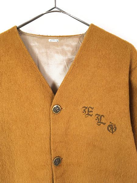 [2] 古着 60-70s ワンポイト 刺しゅう モヘア ウール ノーカラー ジャケット XL位 古着