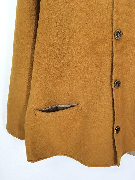 [3] 古着 60-70s ワンポイト 刺しゅう モヘア ウール ノーカラー ジャケット XL位 古着
