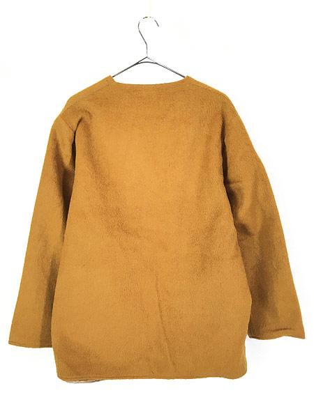 [4] 古着 60-70s ワンポイト 刺しゅう モヘア ウール ノーカラー ジャケット XL位 古着