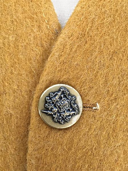 [5] 古着 60-70s ワンポイト 刺しゅう モヘア ウール ノーカラー ジャケット XL位 古着