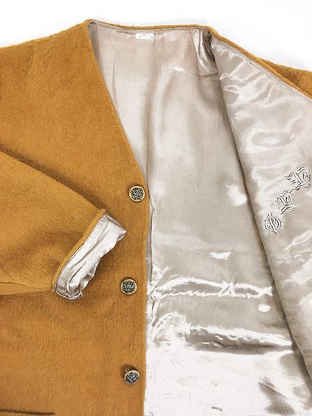 [6] 古着 60-70s ワンポイト 刺しゅう モヘア ウール ノーカラー ジャケット XL位 古着