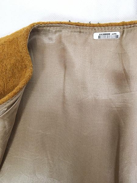 [7] 古着 60-70s ワンポイト 刺しゅう モヘア ウール ノーカラー ジャケット XL位 古着