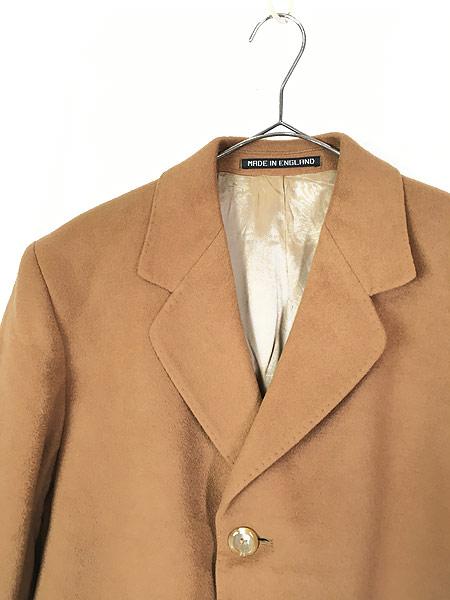 [2] 古着 70s 英国製 豪華 カシミア チェスター バルマカーン コート キャメル 40R 古着