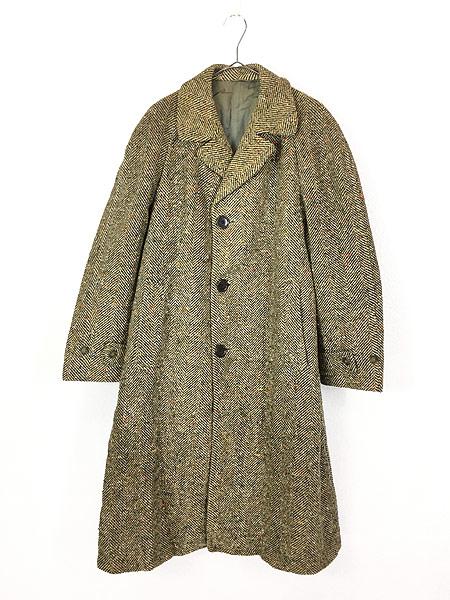 [1] 古着 50s Rook Knit カラフル ネップ ツイード ウール チェスター バルマカーン コート 42位 古着