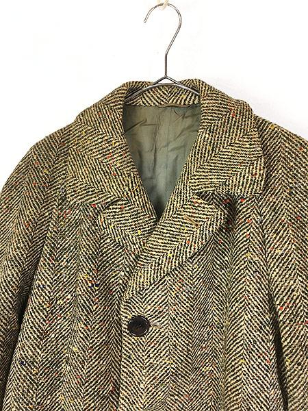 [2] 古着 50s Rook Knit カラフル ネップ ツイード ウール チェスター バルマカーン コート 42位 古着