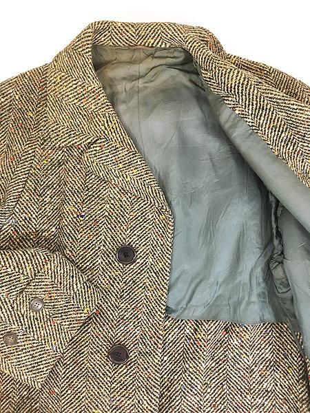 [6] 古着 50s Rook Knit カラフル ネップ ツイード ウール チェスター バルマカーン コート 42位 古着