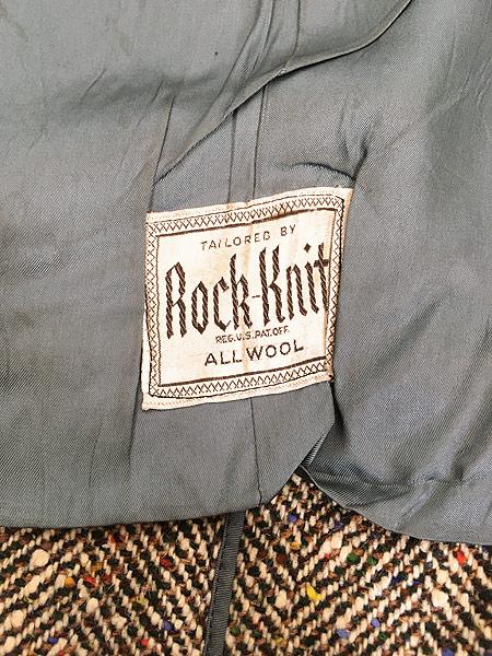 [8] 古着 50s Rook Knit カラフル ネップ ツイード ウール チェスター バルマカーン コート 42位 古着