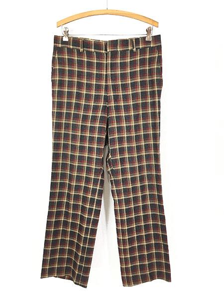 [1] 古着 70s MAJER SLACKS カラフル チェック ウール スラックス パンツ ストレート W33 L30 古着