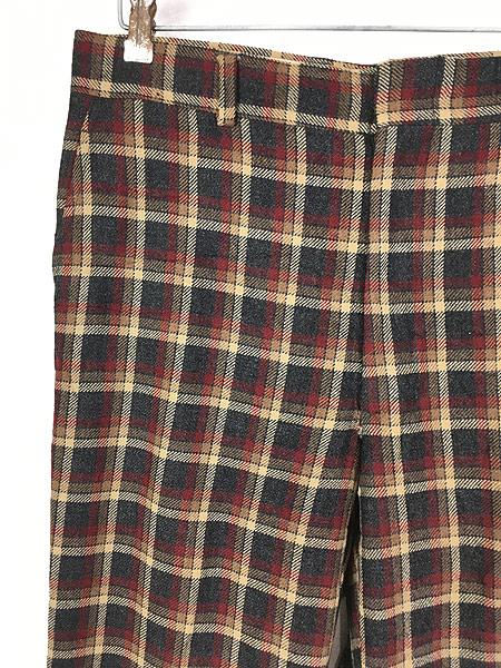 [2] 古着 70s MAJER SLACKS カラフル チェック ウール スラックス パンツ ストレート W33 L30 古着