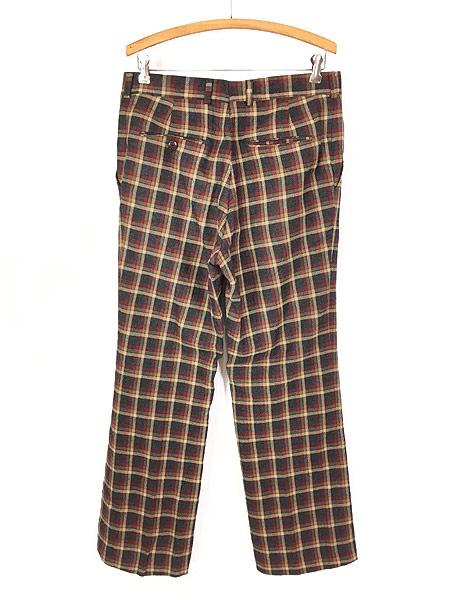 [3] 古着 70s MAJER SLACKS カラフル チェック ウール スラックス パンツ ストレート W33 L30 古着