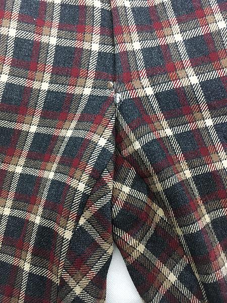 [6] 古着 70s MAJER SLACKS カラフル チェック ウール スラックス パンツ ストレート W33 L30 古着
