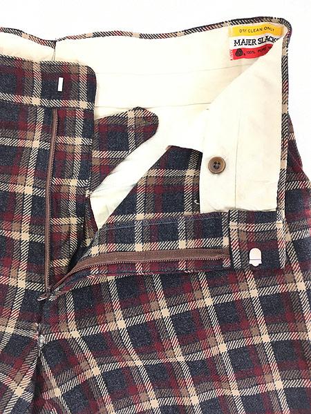 [7] 古着 70s MAJER SLACKS カラフル チェック ウール スラックス パンツ ストレート W33 L30 古着