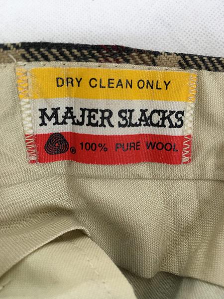 [8] 古着 70s MAJER SLACKS カラフル チェック ウール スラックス パンツ ストレート W33 L30 古着