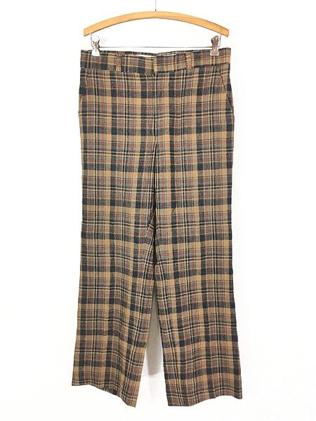 [1] 古着 70s USA製 Pendleton クラシック チェック ウール スラックス パンツ ストレート W32 L30 ブランド 古着