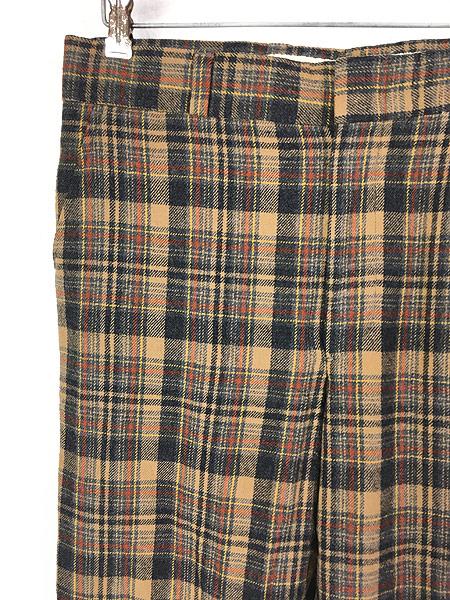 [2] 古着 70s USA製 Pendleton クラシック チェック ウール スラックス パンツ ストレート W32 L30 ブランド 古着