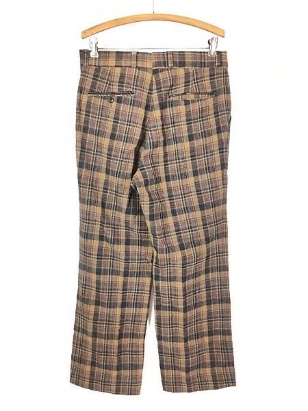 [3] 古着 70s USA製 Pendleton クラシック チェック ウール スラックス パンツ ストレート W32 L30 ブランド 古着