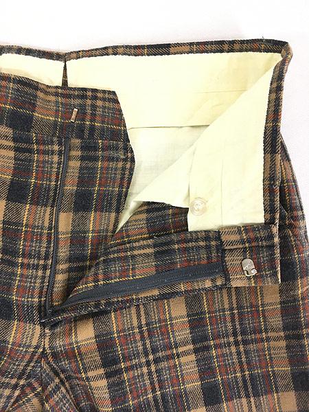 [6] 古着 70s USA製 Pendleton クラシック チェック ウール スラックス パンツ ストレート W32 L30 ブランド 古着