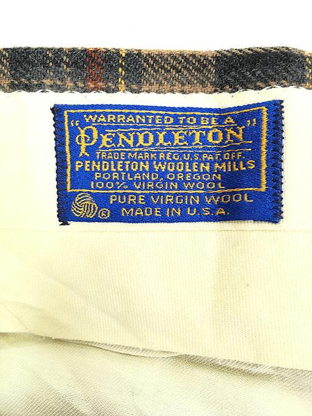 [7] 古着 70s USA製 Pendleton クラシック チェック ウール スラックス パンツ ストレート W32 L30 ブランド 古着