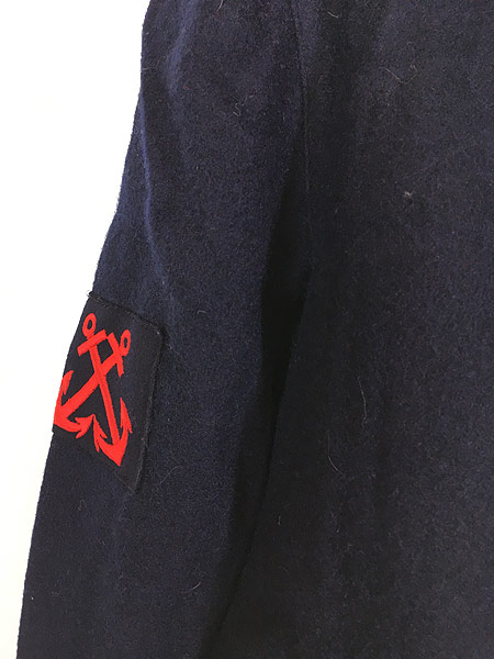 [3] 古着 60s フランス軍 ミリタリー メルトン ウール セーラー シャツ ジャケット M位 美品!! 古着