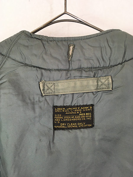 [5] 古着 50s 米軍 USAF 黒タグ 「4889(USAF)」 ミリタリー ウール ボア フィールド ライナー ジャケット M-R 古着