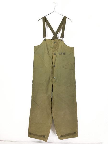 [1] 古着 40s 米軍 USN ステンシル ジャングルクロス N-1 デッキ パンツ オーバーオール M 古着