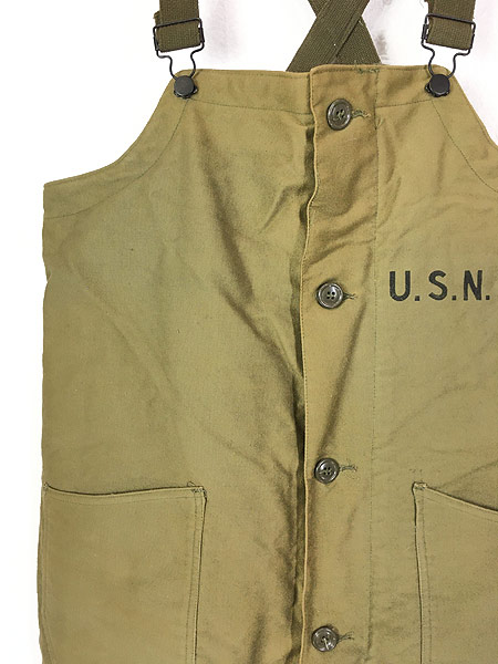 [3] 古着 40s 米軍 USN ステンシル ジャングルクロス N-1 デッキ パンツ オーバーオール M 古着