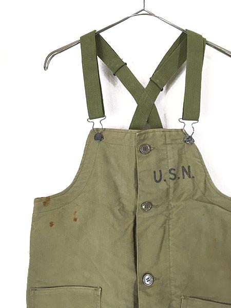 [2] 古着 40s 米軍 USN 「USS HOUSTON」 両面 ステンシル ジャングルクロス N-1 デッキ パンツ オーバーオール S 古着