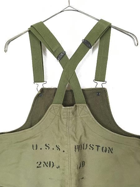 [6] 古着 40s 米軍 USN 「USS HOUSTON」 両面 ステンシル ジャングルクロス N-1 デッキ パンツ オーバーオール S 古着