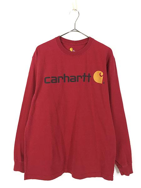 [1] 古着 Carhartt BIG ロゴ プリント 100%コットン ロングスリーブ Tシャツ ロンT M 古着