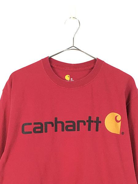 [2] 古着 Carhartt BIG ロゴ プリント 100%コットン ロングスリーブ Tシャツ ロンT M 古着