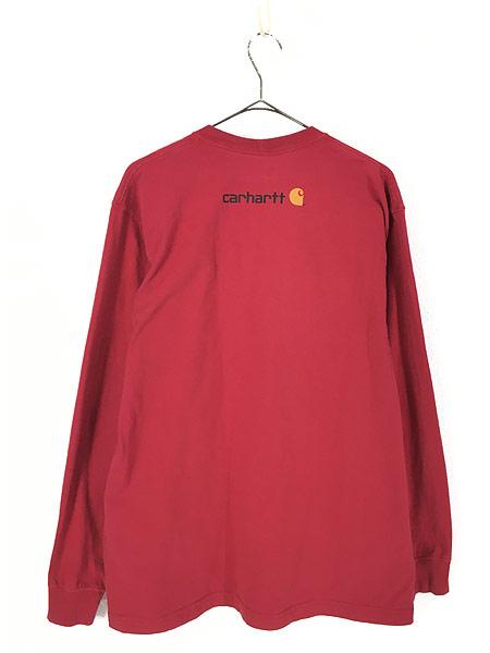 [3] 古着 Carhartt BIG ロゴ プリント 100%コットン ロングスリーブ Tシャツ ロンT M 古着