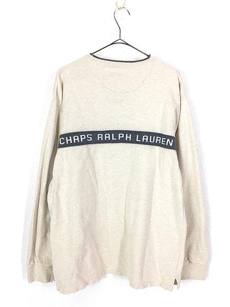 [3] 古着 CHAPS Ralph Lauren バイカラー 両面 ロゴ リネン混 ロングスリーブ カットソー ロンT M 古着