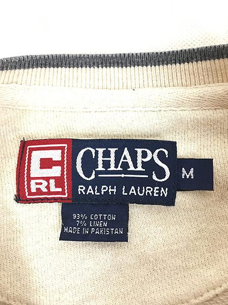 [5] 古着 CHAPS Ralph Lauren バイカラー 両面 ロゴ リネン混 ロングスリーブ カットソー ロンT M 古着