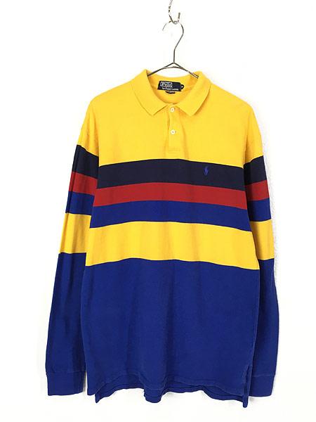 [1] 古着 90s USA製 POLO Ralph Lauren  マルチボーダー カノコ ロングスリーブ ポロシャツ ロンポロ M 古着