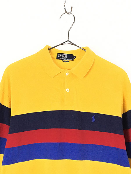 [2] 古着 90s USA製 POLO Ralph Lauren  マルチボーダー カノコ ロングスリーブ ポロシャツ ロンポロ M 古着