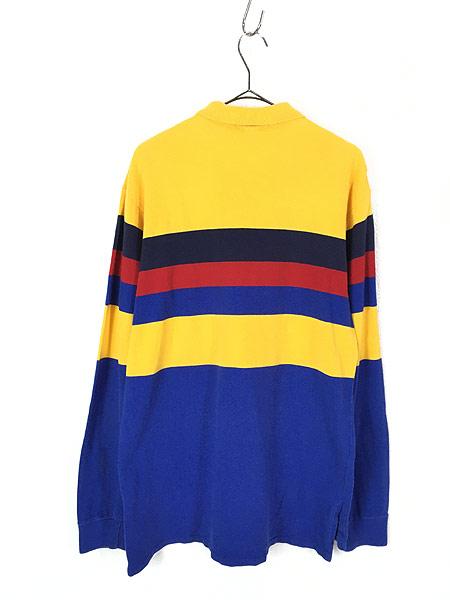 [3] 古着 90s USA製 POLO Ralph Lauren  マルチボーダー カノコ ロングスリーブ ポロシャツ ロンポロ M 古着