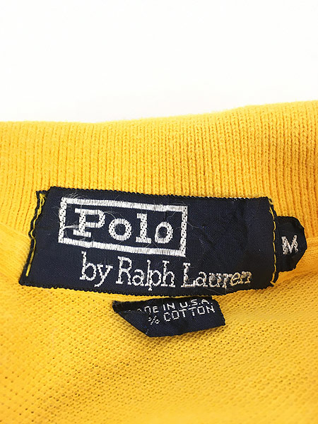 [5] 古着 90s USA製 POLO Ralph Lauren  マルチボーダー カノコ ロングスリーブ ポロシャツ ロンポロ M 古着