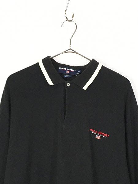 [2] 古着 90s Ralph Lauren SPORT ポロスポ 星条旗 モノトーン ロングスリーブ ポロシャツ ロンポロ XL 古着